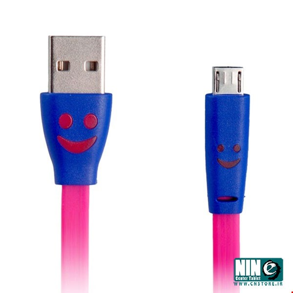 متفرقه/کابل شارژ/Smiley Face Flat MicroUSB Data Cable with Light for charger
